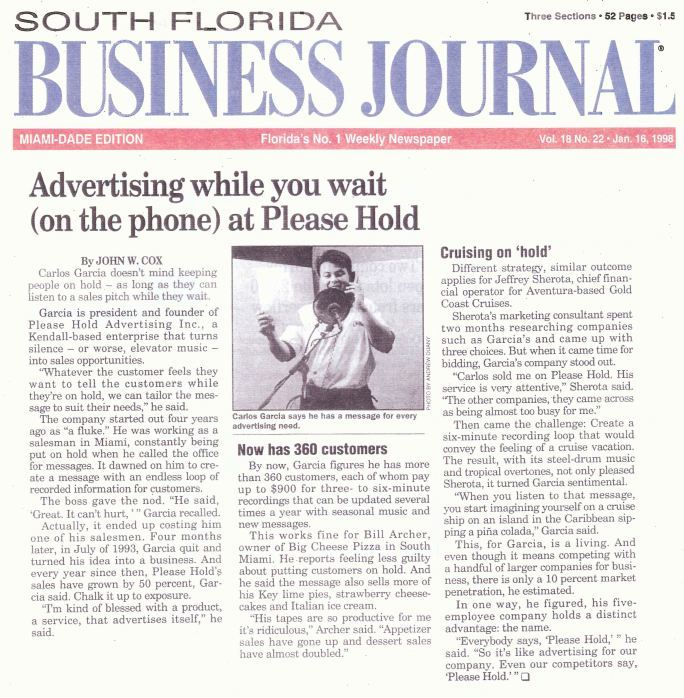 South Florida Business Journal article on Please Hold 1998