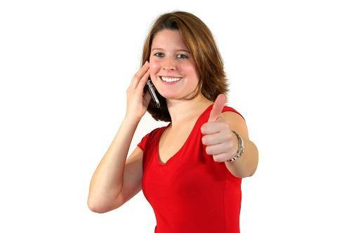 Thumbs Up Girl On Cell Small Please Hold Advertising