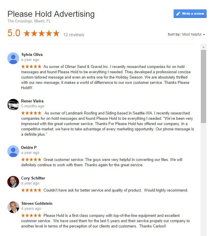 Google reviews for Please Hold Advertising