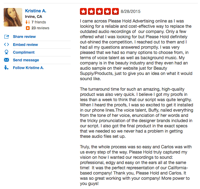 Yelp review for Please Hold Advertising
