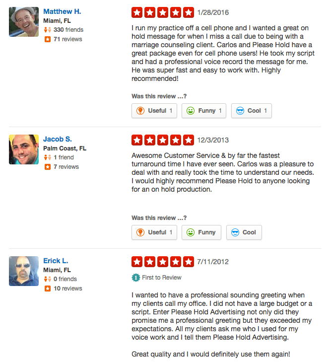 Yelp reviews for Please Hold Advertising