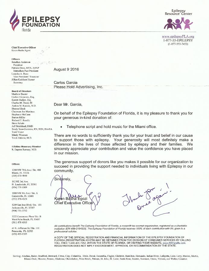 Epilepsy Foundation letter